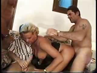 breasty golden-haired milf gangbang