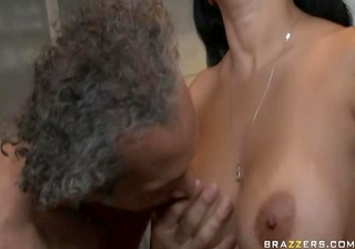 charming lengthy unshaved wife sucking and