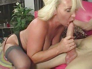 sexy mature breasty golden-haired cougar licks