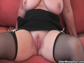 handsome grandma in nylons shows her large milk