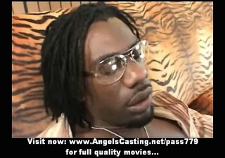 awesome hawt blond does blowjob for afro lad and