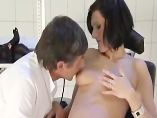 doctor fucks a pregnant wife (dialogue in german)