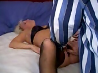 hubby peels off wifes panties for lover