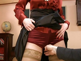 milf in glasses and satin nylons acquires naughty