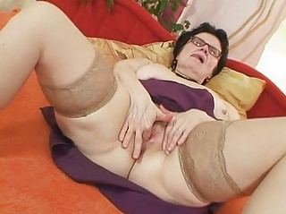 old grandma with glasses fingering curly pussy