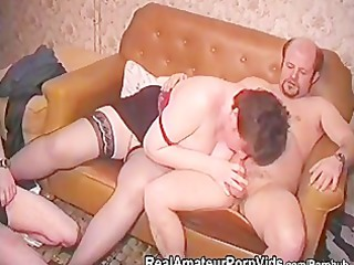 an older plump housewife in stckings is fucked by