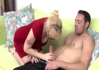 hot blonde milf with glasses wanks dick