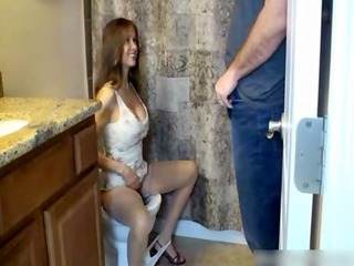 son voids urine and cums on mommy