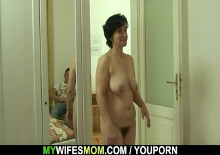 son-in-law drills her old unshaved pussy