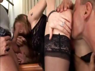 sexy brunette hair milf gives a double blowjob