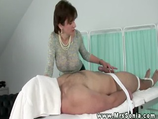 large titted mother i tugging bound guys cock and