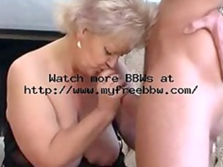 plump old blond granny in stockings copulates
