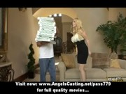 blond milf undresses and does oral for pizza lad