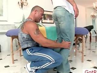 muscled mature stud receives massaged part5