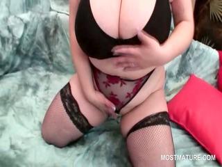 breasty big beautiful woman older rubbing her fat