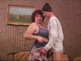 obese mature housewife catches thief and makes