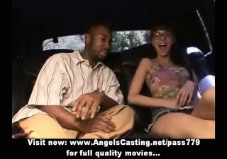 cute brunette nerdy chick flashing pants and cunt
