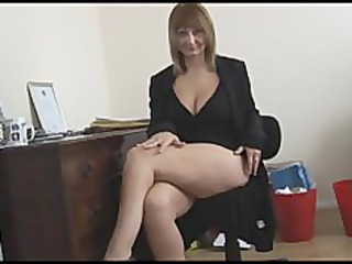 busty mature blond secretary strips and spreads