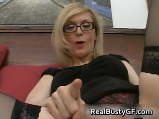 blonde mamma in glasses licking unyielding