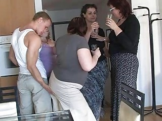 four excited moms enticed cute boy to coll group