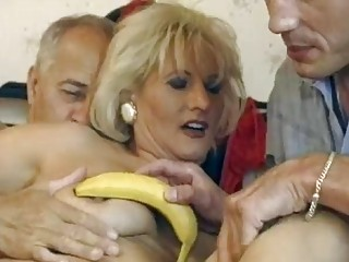older german blond acquires double screwed