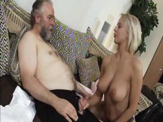 older blond mandy dee bounces her big boobs as
