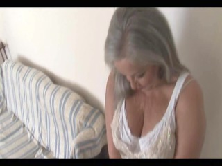 breasty attractive granny in open girdle and