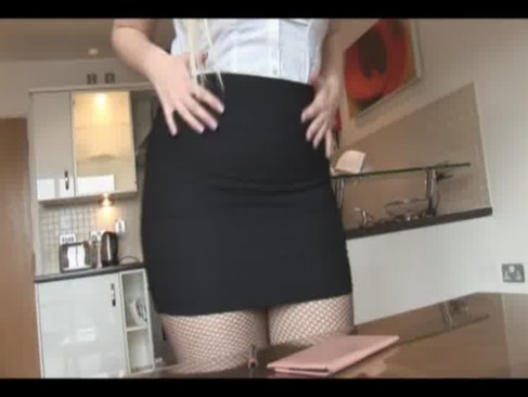busty blond mother i in constricted skirt and hose