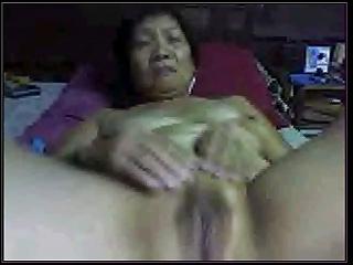 non-professional oriental granny on livecam