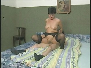 bushy granny in stockings fucks the boy