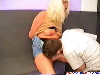blonde russian mommy eats his juvenile ramrod and