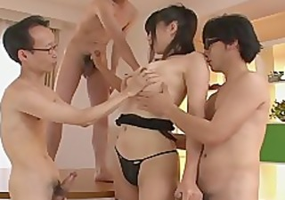 guys receive a japanese girl blow job from saki