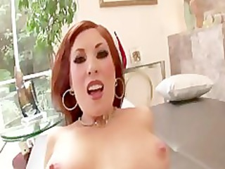 sexy redhead mother i rides knob for facial