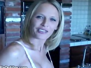 slutty blonde housewife lets lover play with big