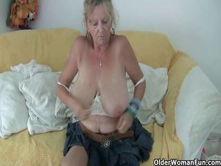 granny with big meatballs masturbates in hose