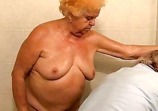 mature bathing granny before getting screwed