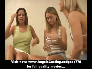 hot lesbo schoolgirls having threesome licking