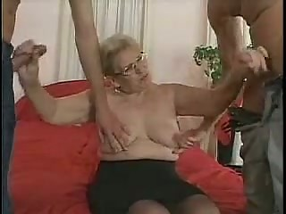 mature in glasses and stockings