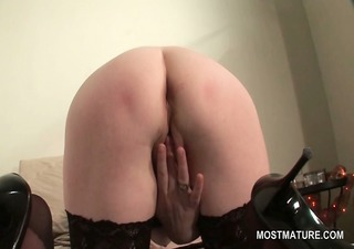 golden-haired mature in sexy ass masturbating fur