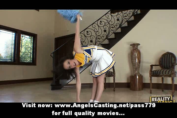 brunette hair cheerleader flashing pants and
