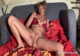 blonde mature in hot lingerie masturbating pink