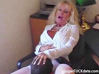 hawt granny cougar in nylons fucks a youthful chap