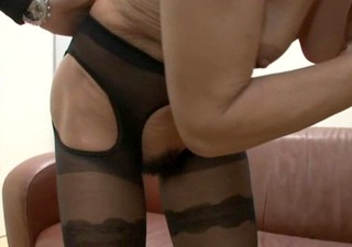 german bushy granny older in black lingerie
