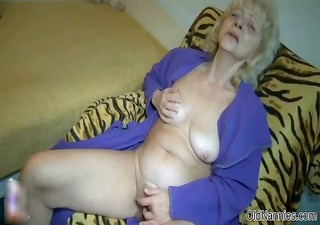 filthy old woman goes eager fingering