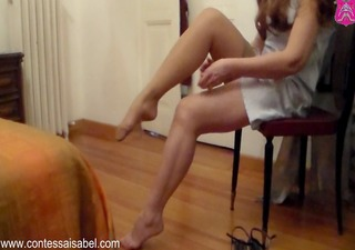 putting on stockings and hot sandals