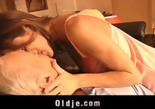 young angel sucks the old cock