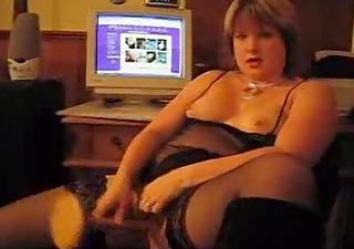 home episode - aged gal in black underware