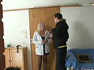 blonde grandma in black nylons fucks