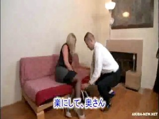 charming aged blonde wife forced by japanese chap