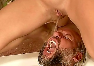 grandpa and young beauty pissing and fucking